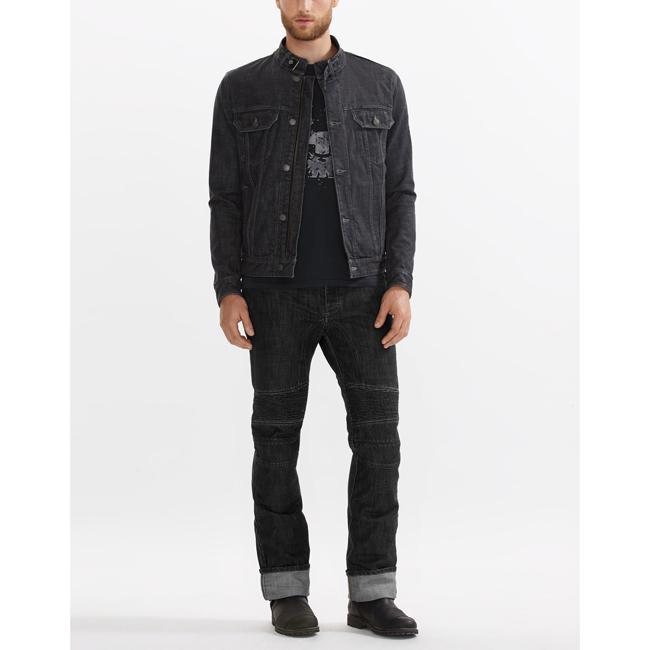 Belstaff VELOCETTE DENIM MOTORCYCLE JACKET Men BLACK Outlet Store