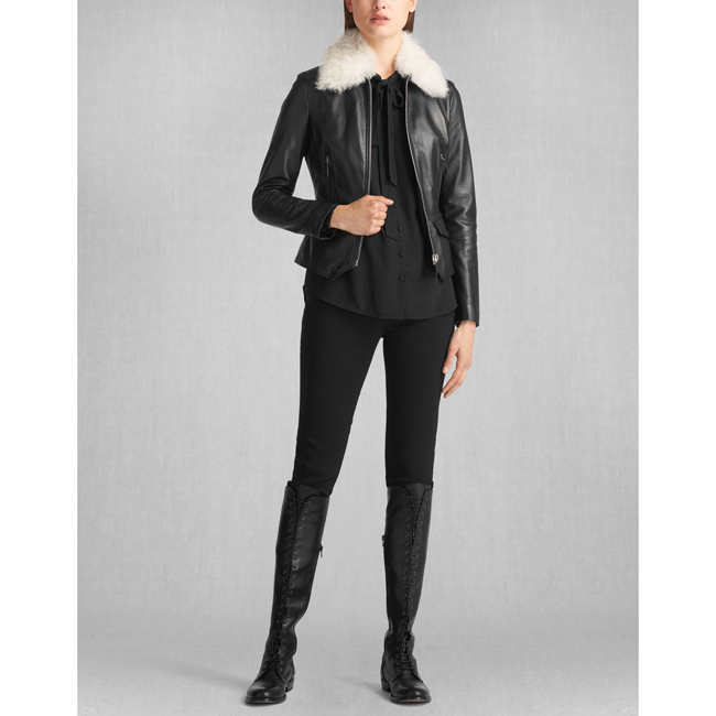 Belstaff LIV TYLER ROXIE SHEARLING COLLAR JACKET Women BLACK Outlet Store