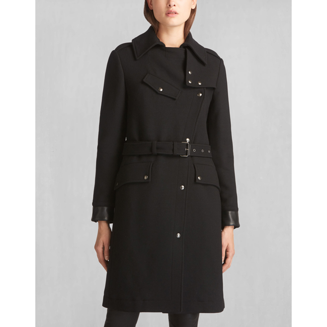 Belstaff ALLARD RIDERS LONG COAT Women BLACK Outlet Store