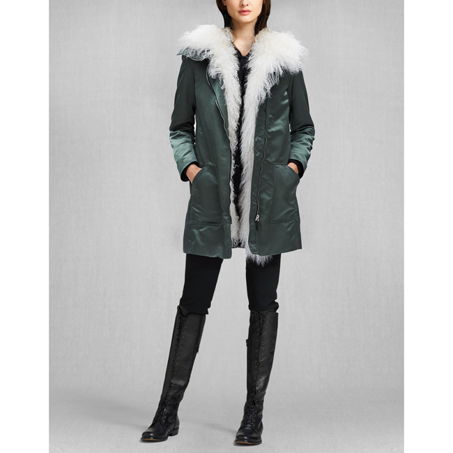 Belstaff LIV TYLER THWAITE PARKA WITH FUR Women MILITARY GREEN Outlet Store