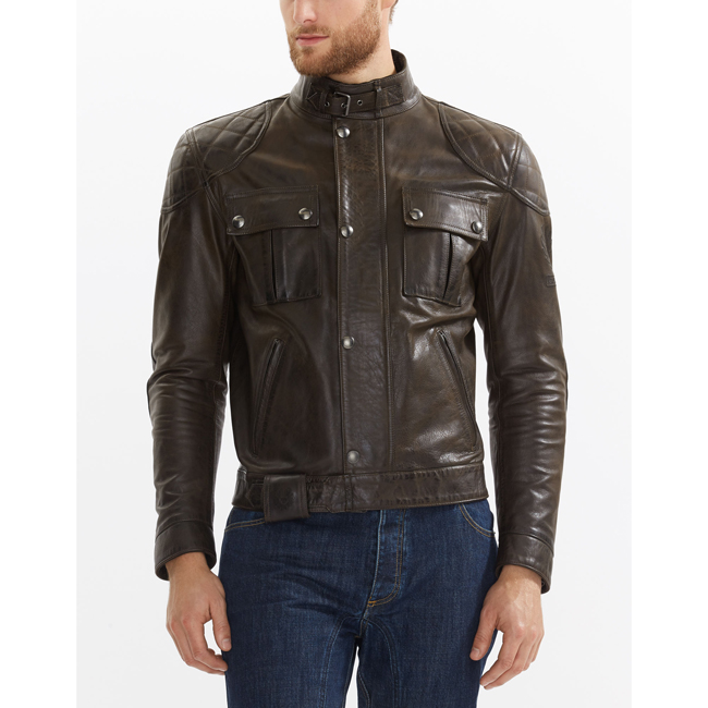 Belstaff BROOKLANDS MOTORCYCLE JACKET Men BLACK BROWN Outlet Store