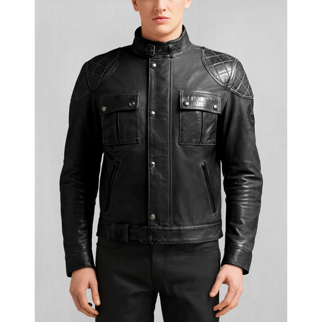 Belstaff BROOKLANDS MOTORCYCLE JACKET Men ANTIQUE BLACK Outlet Store