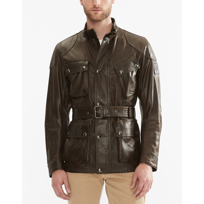 Belstaff THE PANTHER JACKET Men   BLACK/BROWN Outlet Store