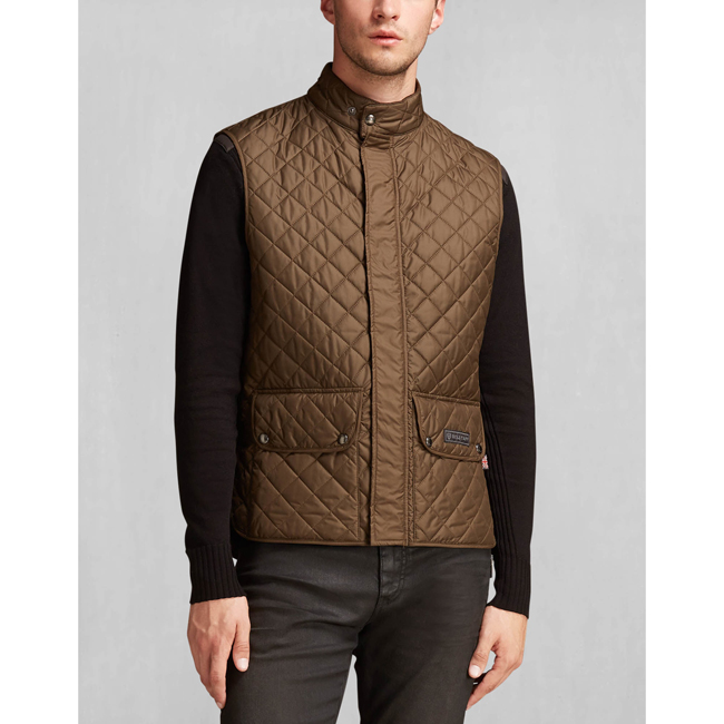 Belstaff QUILTED WAISTCOAT Men FADED OLIVE Outlet Store