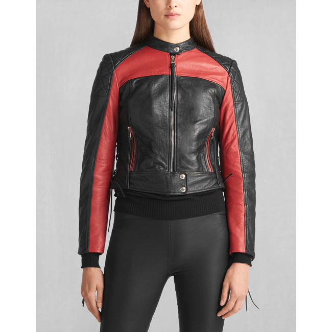 Belstaff HENDRICKSON BLOUSON Women BLACK/RED Outlet Store