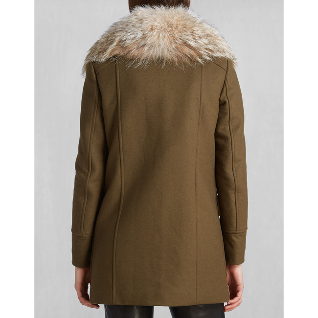 Belstaff WHITNEY COAT WITH FUR Women SPINACH Outlet Store