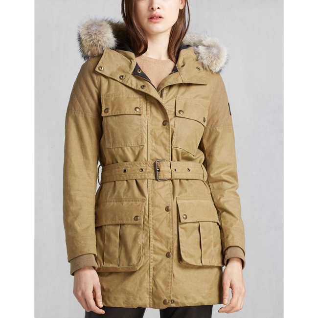 Belstaff TRECKMASTER PARKA WITH FUR Women ANTIQUE BEIGE Outlet Store