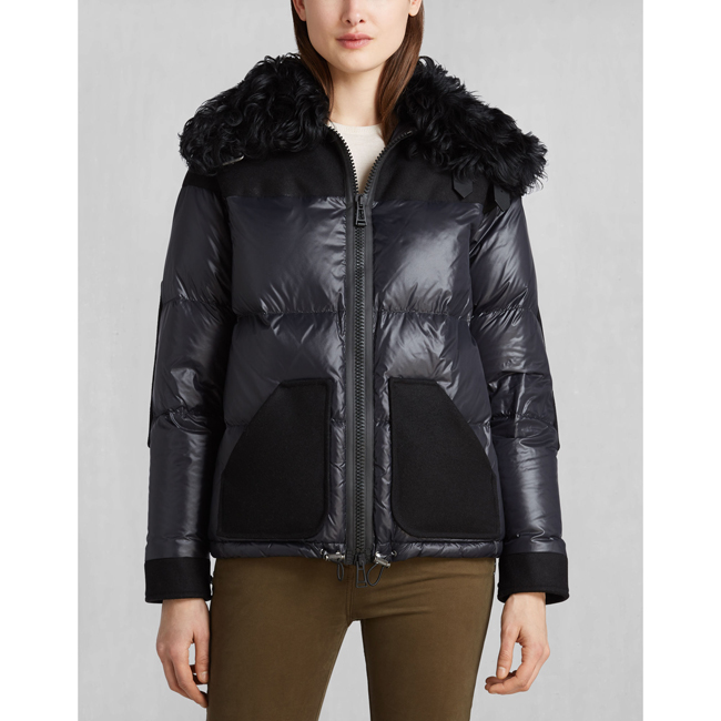 Belstaff BARONET DOWN JACKET WITH FUR Women BLACK Outlet Store