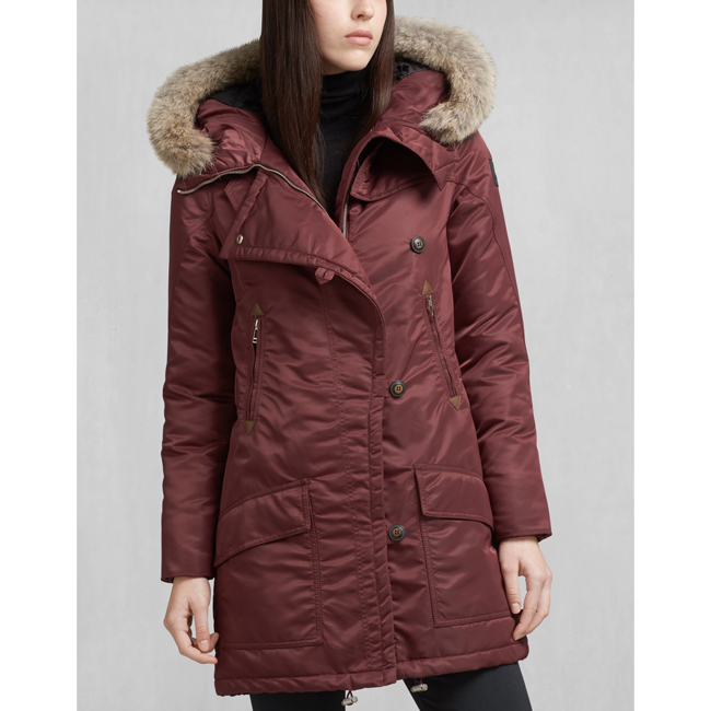 Belstaff DRAKE DOWN COAT WITH FUR Women BURGUNDY Outlet Store